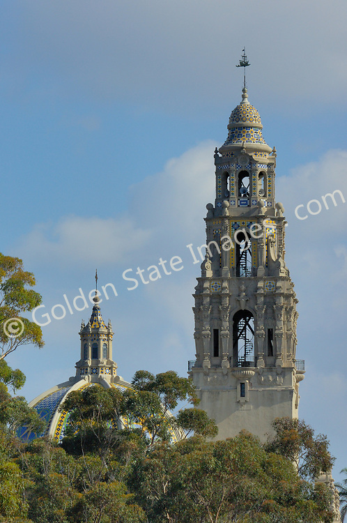 The 200 foot California Tower located in the Museum of Man.<br /> <br /> Balboa Park, located near downtown San Diego, is a historic architetural jewel featuring museums, an arts village, gardens, restaurants, hiking trails, The Old Globe theatre complex and the world famous San Diego Zoo. <br /> <br /> The 1915-16 Panama-California Exposition held in Balboa Park marked the opening of the Panama Canal and sparked the design of the Park as it appears today. Most of the arts organizations along Balboa Park's famous El Prado pedestrian walkway are housed in Spanish-Renaissance style buildings constructed for the 1915 Exposition. <br /> <br /> It introduced the beautiful ornamental architectural style to the United States.