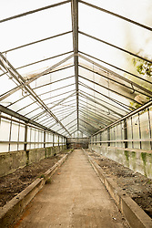 Interior of abandoned greenhouse, Munich, Bavaria, Germany