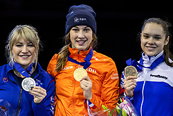 12-01-2019 NED: ISU European Short Track Championships 2019 day 2, Dordrecht<br /> 1500 meter Gold for Suzanne Schulting #24 NED, Elise Christie #41 GBR silver and bronze Sofia Prosvirnova #4 RUS