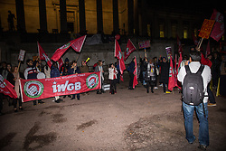London, UK. 29 October, 2019. Henry Chango Lopez, President of the Independent Workers of Great Britain (IWGB) trade union, addresses students and UCL security officers, cleaners and porters outsourced via Axis and Sodexo at a protest outside the university to call for decent terms and conditions and an end to outsourcing, discrimination and 'precarity and mismanagement'. The terms and conditions of outsourced workers at UCL are considerably worse than for comparable UCL employees, with no occupational sick pay and reduced annual leave entitlement and pensions.