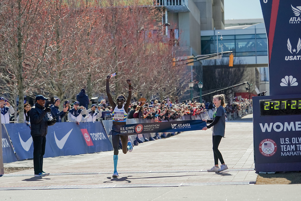 Aliphine Tuliamuk celebrates winning the 2020 U.S. Olympic marathon trials in Atlanta on Saturday, Feb. 20, 2020. Photo by Kevin D. Liles for The New York Times