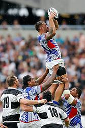 Samoa Flanker Jack Lam wins a lineout - Mandatory byline: Rogan Thomson/JMP - 07966 386802 - 29/08/2015 - RUGBY UNION - The Stadium at Queen Elizabeth Olympic Park - London, England - Barbarians v Samoa - International Friendly.