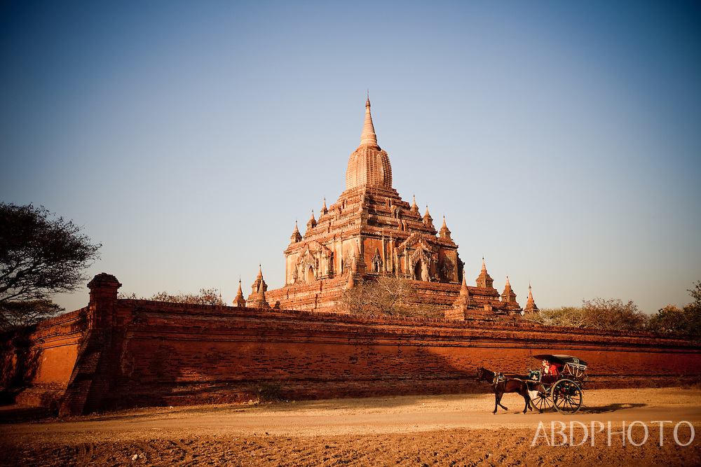 Horse & Cart in Bagan,Burma (Myanmar) the ancient city (Kingdom of Pagan) with temples & pagodas