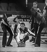 "Glasgow. SCOTLAND.  Russian vice skip, Uliana VASILEVA  during  the ""Round Robin"" Game.  Scotland vs Russia,  Le Gruyère European Curling Championships. 2016 Venue, Braehead  Scotland<br /> Thursday  24/11/2016<br /> <br /> [Mandatory Credit; Peter Spurrier/Intersport-images]"