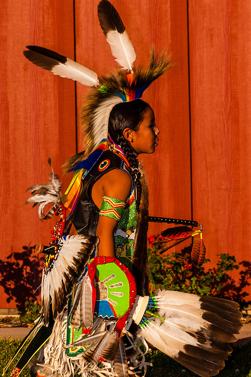 American Indians dancing at a pow wow at Frontier Homestead State Park Museum, Cedar City, Utah, USA.