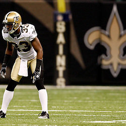 August 21, 2010; New Orleans, LA, USA; New Orleans Saints cornerback Jabari Greer (33) lines up for a play during the second quarter of a preseason game at the Louisiana Superdome. Mandatory Credit: Derick E. Hingle