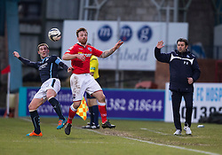 Dundee's Kevin Thomson, Ross County's Craig Curran and Dundee's manager Paul Hartley. <br /> Half time : Dundee 0 v 0 Ross County, SPFL Premiership game player 4/1/2015 at Dundee's home ground Dens Park.