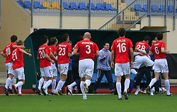 Players of Rudar celebrates a goal at 26th Round of Slovenian First League football match between NK Domzale and NK Rudar Velenje in Sports park Domzale, on April 4, 2009, in Domzale, Slovenia. (Photo by Vid Ponikvar / Sportida)