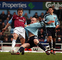PICTURE BY DANIEL HAMBURY/SPORTSBEAT IMAGES<br />Nationwide Football League Division One    6/3/04<br /><br />West Ham United V Walsall<br /><br />West Ham United's David Connolly and Walsall's Neil Emblen