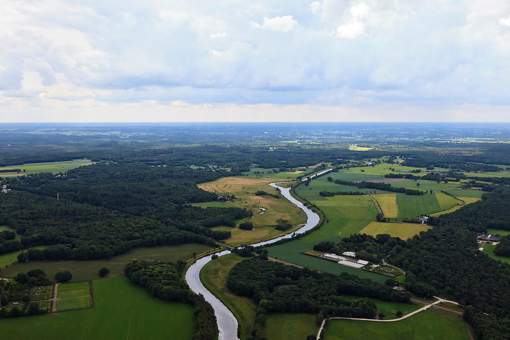 Nederland, Overijssel, Ommen, 30-06-2011; Overijsselsche Vecht.Lovely landscape in the eastern Netherlands with mill and meandering river. luchtfoto (toeslag), aerial photo (additional fee required).copyright foto/photo Siebe Swart