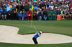 April 7, 2018 - Augusta, GA, USA - Tiger Woods hits from a bunker on the 2nd hole during the third round of the Masters Tournament on Saturday, April 7, 2018, at Augusta National Golf Club in Augusta, Ga. (Credit Image: © Curtis Compton/TNS via ZUMA Wire)