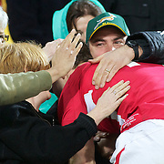 George North, Wales, is congratulated by family in the stand after the Ireland V Wales Quarter Final match at the IRB Rugby World Cup tournament. Wellington Regional Stadium, Wellington, New Zealand, 8th October 2011. Photo Tim Clayton...