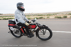 William Story riding his 1913 Excelsior during the Motorcycle Cannonball Race of the Century. Stage-10 ride from Pueblo, CO to Durango, CO. USA. Tuesday September 20, 2016. Photography ©2016 Michael Lichter.
