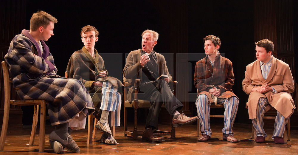 © Licensed to London News Pictures. 23/04/2012. London, England. L-R: Bradley Hall as Colin Jenkins, Alex Lawther as John Blakemore, Nicholas Farrell as Rev Eric Dewley, Tom Spink as Tommy Gunter and Liam Morton as Roger Sprule. Actors Anna Chancellor and  Nicholas Farrell star in a double bill - South Downs by David Hare, directed by Jeremy Herrin and The Browning Version by Terence Rattigan, directed by Angus Jackson at the Harold Pinter Theatre. Photo credit: Bettina Strenske/LNP