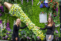 Licensed to London News Pictures. 26/06/2021. London, UK. Left, Phoebe Crossland 22 and Laura Aldridge 26 enjoy the tennis themed floral decorations in shop windows in Wimbledon Village, ahead of the 2021 Championships which is set to kick off this Monday. The AELTC Tennis Championships at Wimbledon, southwest London is back on Monday (28 June) for the first time in two years after it was cancelled last year due to the Covid-19 pandemic. However, capacity is down by 50% and fans must pre-ordered tickets with no overnight camping or queuing. Photo credit: Alex Lentati/LNP