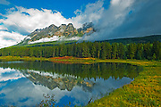 Whitney Lake and Yellowhead Mountain shrouded in cloud <br /> Mt. Robson Provincial Park<br /> British Columbia<br /> Canada
