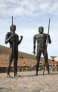 Statues of indigenous Mahos tribal leaders Guize and Ayose by Emiliano Hernandez, Fuerteventura, Canary Islands, Spain