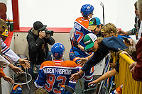 KELOWNA, CANADA - OCTOBER 2: Connor McDavid #97 and Ryan Nugent-Hopkins #93 of the Edmonton Oilers enter the ice against Los Angeles Kings on October 2, 2016 at Kal Tire Place in Vernon, British Columbia, Canada.  (Photo by Marissa Baecker/Shoot the Breeze)  *** Local Caption *** Connor McDavid; Ryan Nugent-Hopkins'