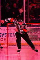 KELOWNA, BC - FEBRUARY 12: Referee Nick Panter enters the ice at the Kelowna Rockets against the Tri-City Americans at Prospera Place on February 8, 2020 in Kelowna, Canada. (Photo by Marissa Baecker/Shoot the Breeze)