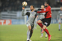 Fotball<br /> Frankrike<br /> Foto: DPPI/Digitalsport<br /> NORWAY ONLY<br /> <br /> FOOTBALL - FRENCH LEAGUE CUP 2009/2010 - 1/4 FINAL - 27/01/2010 - EA GUINGAMP v TOULOUSE FC <br /> <br /> DANIEL BRAATEN (TFC) / FABRICE COLLEAU (GUI)