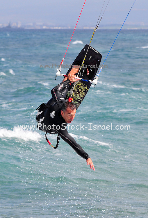 Israel, Haifa, Surfers in Bat Galim beach during the Israeli windsurfing championship February 20th 2009