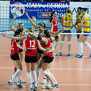 Vakifbank GS TT's players during their Women's Volleyball CEV Champions League semi final match at Burhan Felek Arena in Istanbul, Turkey on 20 March 2011. Photo by TURKPIX