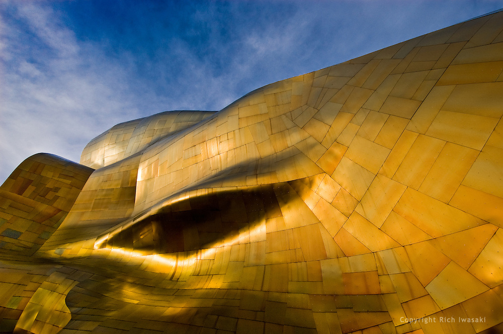 Architectural detail of Experience Music Project building at Seattle Center, Seattle, Washington