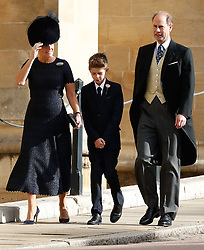 Countess of Wessex, Earl of Wessex and their son Viscount Severn arrive for the wedding of Princess Eugenie to Jack Brooksbank at St George's Chapel in Windsor Castle.