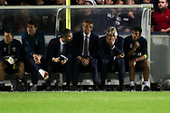West Ham United manager Manuel Pellegrini with hand over mouth during the EFL Carabao Cup 2nd round match between AFC Wimbledon and West Ham United at the Cherry Red Records Stadium, Kingston, England on 28 August 2018.