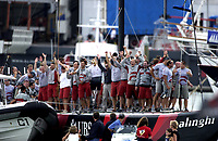 THE ALINGHI TEAM ARRIVE AT THE HARBOUR TO COLLECT THEIR TROPHY - THE AMERICA'S CUP.