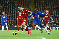 Philippe Coutinho of Liverpool (l) gets away from Ngolo Kante of Chelsea. Premier League match, Liverpool v Chelsea at the Anfield stadium in Liverpool, Merseyside on Saturday 25th November 2017.<br /> pic by Chris Stading, Andrew Orchard sports photography.