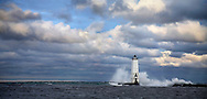 Frankfort North Breakwater Light On A Stormy Morning In Michigan