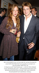 BEN GOLDSMITH son of the late Sir James Goldsmith and KATE ROTHSCHILD at a party in London on 3rd October 2002.PDT 33