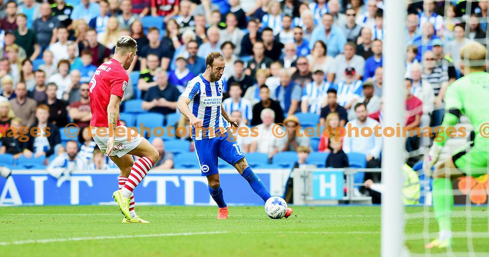 Glenn Murray of Brighton gets forward during the Sky Bet Championship match between Brighton and Hove Albion and Barnsley at the American Express Community Stadium in Brighton and Hove. September 24, 2016.<br /> Simon  Dack / Telephoto Images<br /> +44 7967 642437