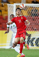 Fotball<br /> Asian Cup / Asiamesterskapet<br /> 10.01.2015<br /> Kina v Saudi Arabia<br /> Foto: imago/Digitalsport<br /> NORWAY ONLY<br /> <br /> Hao Junmin (R) of China vies with Egor Krimets of Saudi Arabia during a Group B match at the AFC Asian Cup in Brisbane, Australia, Jan. 10, 2015.