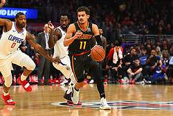 January 29, 2019 - Los Angeles, CA, U.S. - LOS ANGELES, CA - JANUARY 28: Atlanta Hawks Guard Trae Young (11) drives to the basket during a NBA game between the Atlanta Hawks and the Los Angeles Clippers on January 28, 2019 at STAPLES Center in Los Angeles, CA. (Photo by Brian Rothmuller/Icon Sportswire) (Credit Image: © Brian Rothmuller/Icon SMI via ZUMA Press)