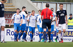 Queen of the South's Gavin Reilly (10) celebrates after scoring their goal.<br /> Falkirk 1 v 1 Queen of the South, Scottish Championship game played today at The Falkirk Stadium.