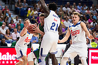 Real Madrid's player Jaycee Carroll, Othello Hunter and Luka Doncic and Unicaja Malaga's player Adam Waczynski during match of Liga Endesa at Barclaycard Center in Madrid. September 30, Spain. 2016. (ALTERPHOTOS/BorjaB.Hojas)