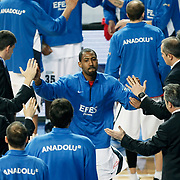 Efes Pilsen's Bootsy THORNTON during their Turkish Basketball league match Efes Pilsen between Tofas at the Sinan Erdem Arena in Istanbul Turkey on Sunday 27 February 2011. Photo by TURKPIX