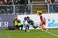 Bath wing Semesa Rokoduguni (14) scores a try 5-5 first half during the Aviva Premiership match between Bath Rugby and Gloucester Rugby at the Recreation Ground, Bath, United Kingdom on 29 October 2017. Photo by Gary Learmonth.