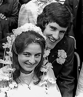 Wedding of Abercorn Restaurant bomb victim, Rosaleen McNern, pictured with her husband, Brendan Murrin, from Killybegs, Co Donegal, Rep of Ireland. They were married in Belfast 4th August 1972. 19720804028a<br /> <br /> Copyright Image from Victor Patterson, Belfast, UK<br /> <br /> t: +44 28 9066 1296 (from Rep of Ireland 048 9066 1296)<br /> m: +44 7802 353836<br /> <br /> victorpattersonbelfast@gmail.com<br /> <br /> www.victorpatterson.com OR <br /> www.images4media.com<br /> <br /> Please see my Terms and Conditions of Use at https://www.victorpatterson.com/page2<br /> It is IMPORTANT that you familiarise yourself with them.<br /> <br /> Images used on the Internet incur an additional cost and must be visibly watermarked i.e. © Victor Patterson within the body of the image and copyright metadata must not be deleted. Images used on the Internet have a size restriction of 4 kbs and are chargeable at rates available at victorpatterson.com.<br /> <br /> This image is only available for the use of the download recipient i.e. television station, newspaper, magazine, book publisher, etc, and must not be passed on to any third party. It is also downloaded on condition that each and every usage is notified within 7 days to victorpattersonbelfast@gmail.com.