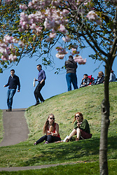 © Licensed to London News Pictures. 20/04/2015. Bristol, Avon, UK. People out enjoying the sunny weather in Bristol today, 20th April 2015. The South West of England is set for more warm temperatures and plenty of sunshine this week. Photo credit : Rob Arnold/LNP