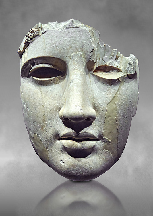 Roman mask from the  National Roman Museum, Rome, Italy .<br /> <br /> If you prefer to buy from our ALAMY PHOTO LIBRARY  Collection visit : https://www.alamy.com/portfolio/paul-williams-funkystock/roman-museum-rome-sculpture.html<br /> <br /> Visit our ROMAN ART & HISTORIC SITES PHOTO COLLECTIONS for more photos to download or buy as wall art prints https://funkystock.photoshelter.com/gallery-collection/The-Romans-Art-Artefacts-Antiquities-Historic-Sites-Pictures-Images/C0000r2uLJJo9_s0