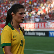 Brazil defender Andreia Rosa (4) during a women's soccer International friendly match between Brazil and the United States National Team, at the Florida Citrus Bowl  on Sunday, November 10, 2013 in Orlando, Florida. The U.S won the game by a score of 4-1.  (AP Photo/Alex Menendez)
