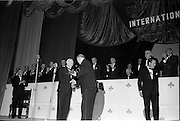18/05/1962<br /> 05/18/1962<br /> 18 May 1962<br /> Presentation of Variety Club Awards at their International Convention in the Theatre Royal, Dublin. Picture shows President Eamon de Valera presenting the Humanitarian Award to Mr Frank Duff (left), founder of the Legion of Mary.