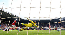 Derby County's David Nugent scores his side's second goal of the game during the Sky Bet Championship match at Pride Park, Derby.
