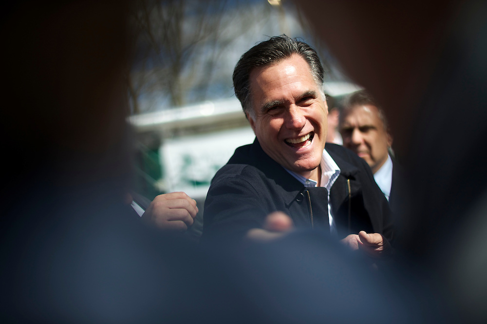 Republican Presidential candidate Mitt Romney holds a rally at Mountain Energy Services in Tunkhannock, Pennsylvania on April 5, 2012.