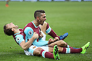 Manuel Lanzini of West Ham United celebrates scoring his sides 2nd goal to make it 2-1 with Mark Noble, West Ham United captain. Premier league match, West Ham Utd v West Bromwich Albion at the London Stadium, Queen Elizabeth Olympic Park in London on Saturday 11th February 2017.<br /> pic by John Patrick Fletcher, Andrew Orchard sports photography.