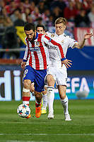 Atletico de Madrid's Arda Turan (L) and Real Madrid´s Toni Kroos during quarterfinal first leg Champions League soccer match at Vicente Calderon stadium in Madrid, Spain. April 14, 2015. (ALTERPHOTOS/Victor Blanco)