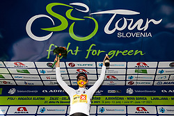 Jonas Iversby HVIDEBERG of UNO - X PRO CYCLING TEAM4 celebrates in white jersey as best young rider at trophy ceremony after the 1st Stage of 27th Tour of Slovenia 2021 cycling race between Ptuj and Rogaska Slatina (151,5 km), on June 9, 2021 in Slovenia. Photo by Vid Ponikvar / Sportida